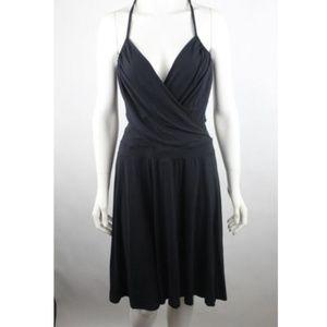 Opcao Women's Sun Dress Size M Solid Black Casual